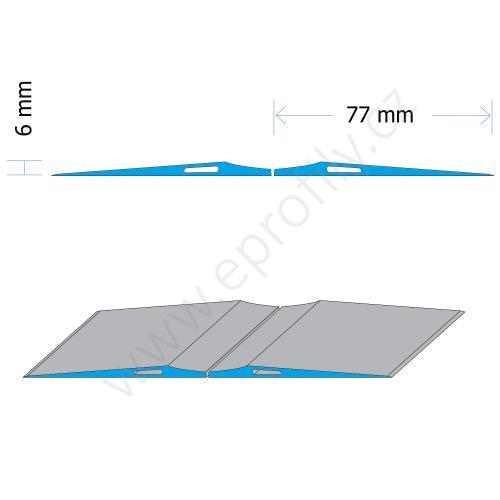 Blok parkovací podlahový aluminiový nízký - nízký, PAB-F-6060, 2x (6x77x6000), Celá tyč