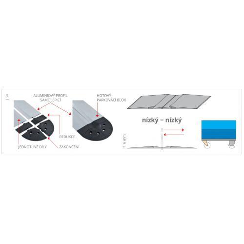 Blok parkovací podlahový aluminiový nízký - nízký, PAB-F-6060, 2x (6x77), Řezaný profil