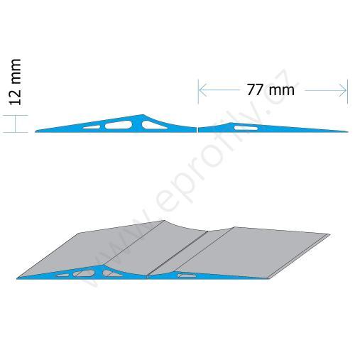 Blok parkovací podlahový aluminiový vysoký - nízký, PAB-FH-6060, 12x77x6000; 6x77x6000, Celá tyč